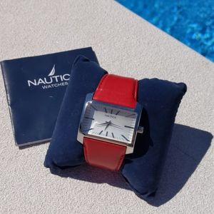 Vintage Nautica Red Leather & Stainless St…